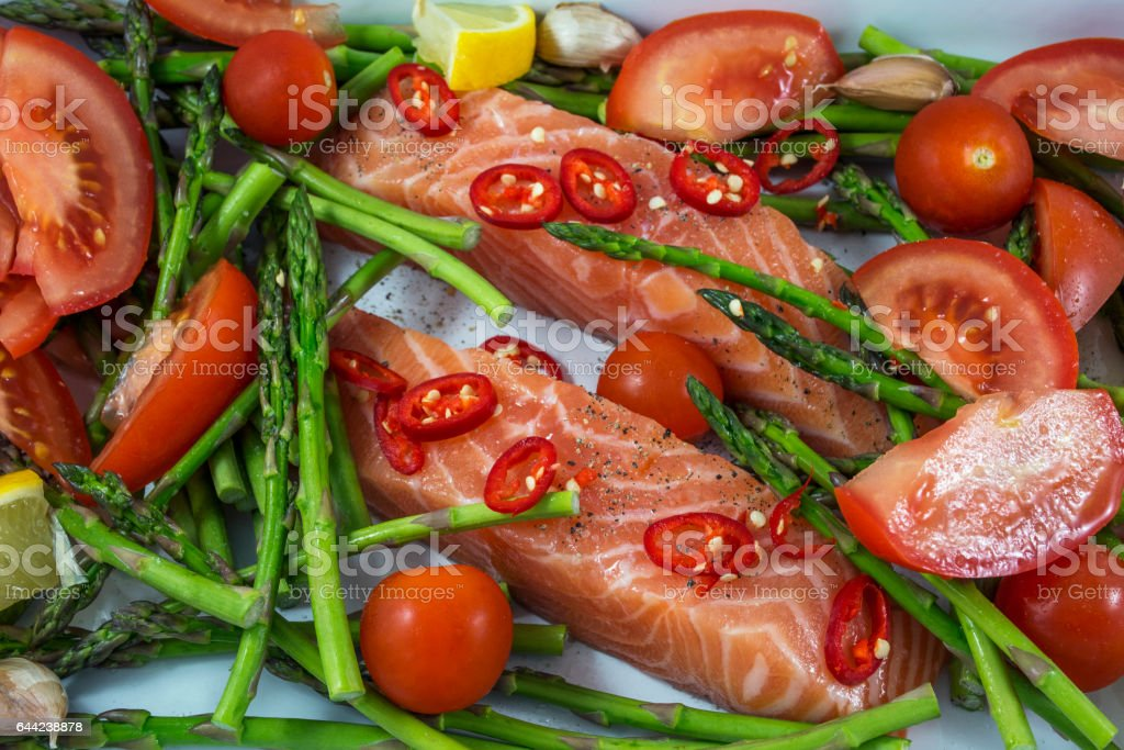 Two tasty pieces of salmon with green asparagus stock photo