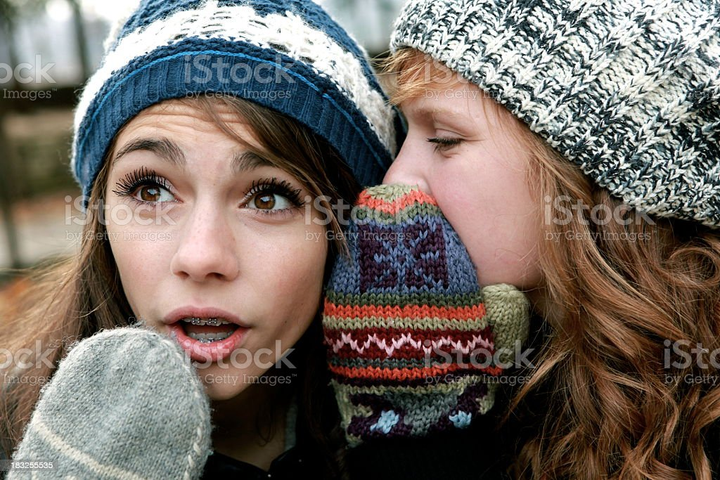 Two teen girls whispering secrets into each other's ears royalty-free stock photo
