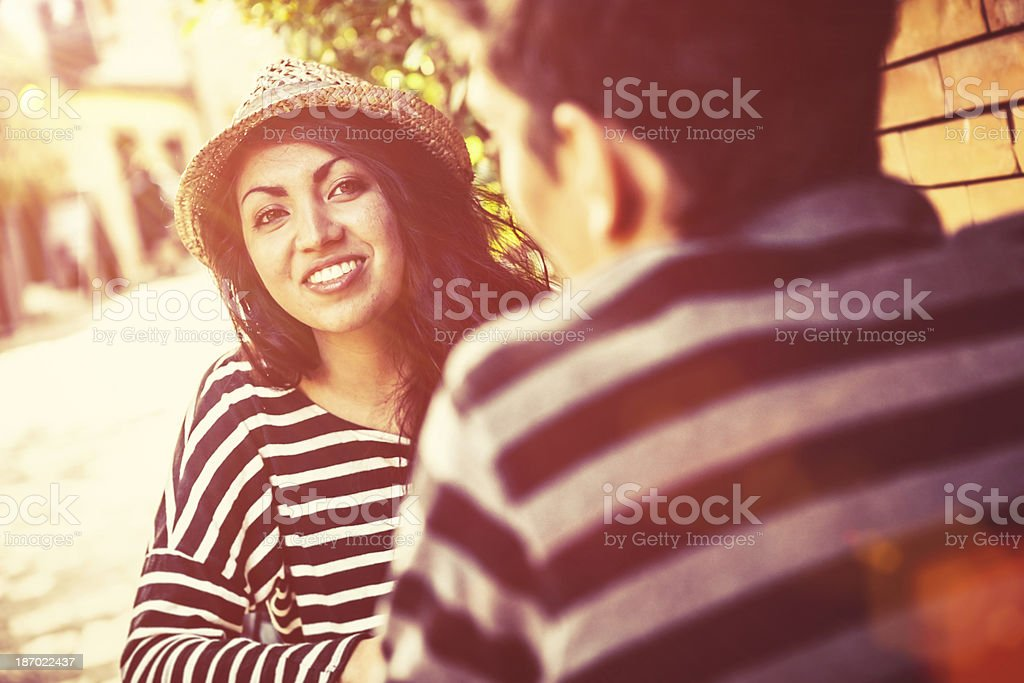 Two Teenage Friends Having Fun Outdoors royalty-free stock photo