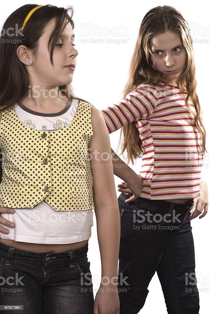 Two teenage girls isolated on white royalty-free stock photo