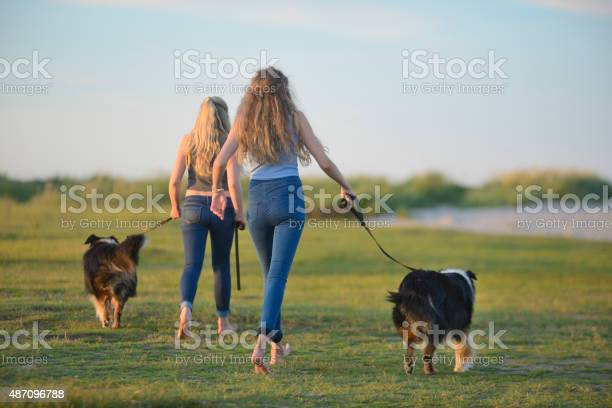 Two teenage girls with collies walking at sand dunes picture id487096788?b=1&k=6&m=487096788&s=612x612&h=v12un573up1tfwbd2exse5vxcylnyr44pl7temsij k=