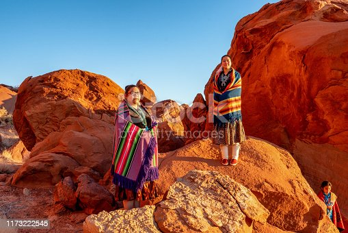 istock Two Teenage Native American Indian Navajo Sister in Traditional Clothing Enjoying the Vast Desert and Red Rock Landscape in the Famous Navajo Tribal Park in Monument Valley Arizona at Dawn 1173222545