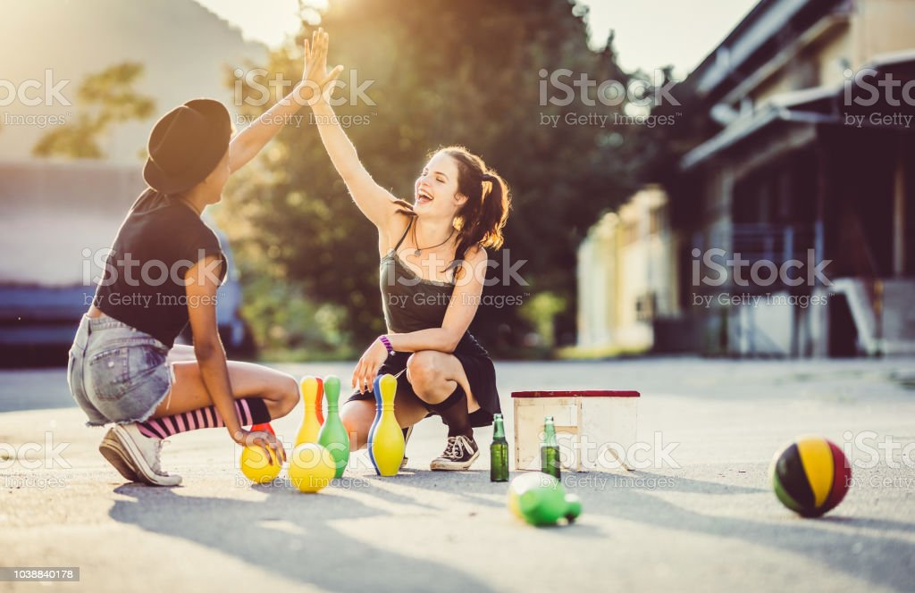 Two Teenager Girls Hanging Out stock photo