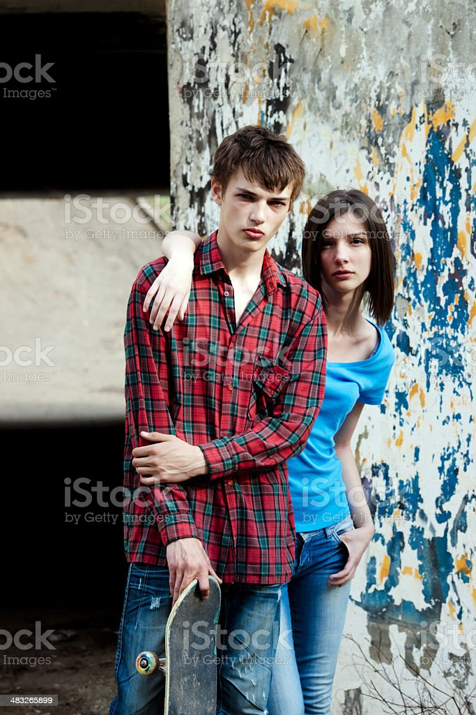 two teenager with a skateboard royalty-free stock photo