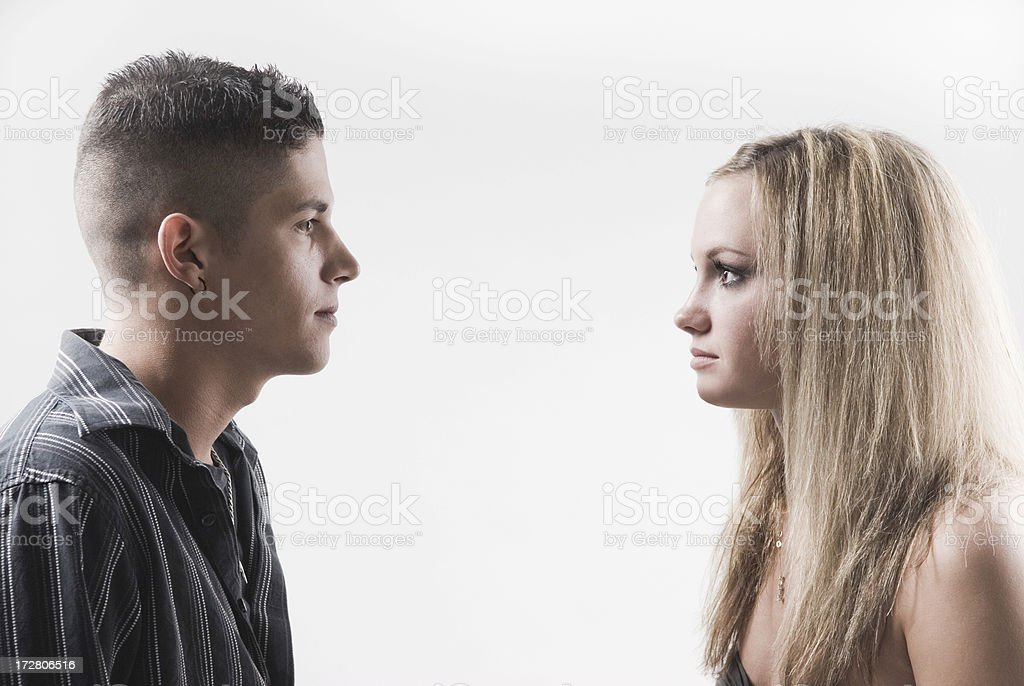 Two Teenagers Stare At Each Other royalty-free stock photo