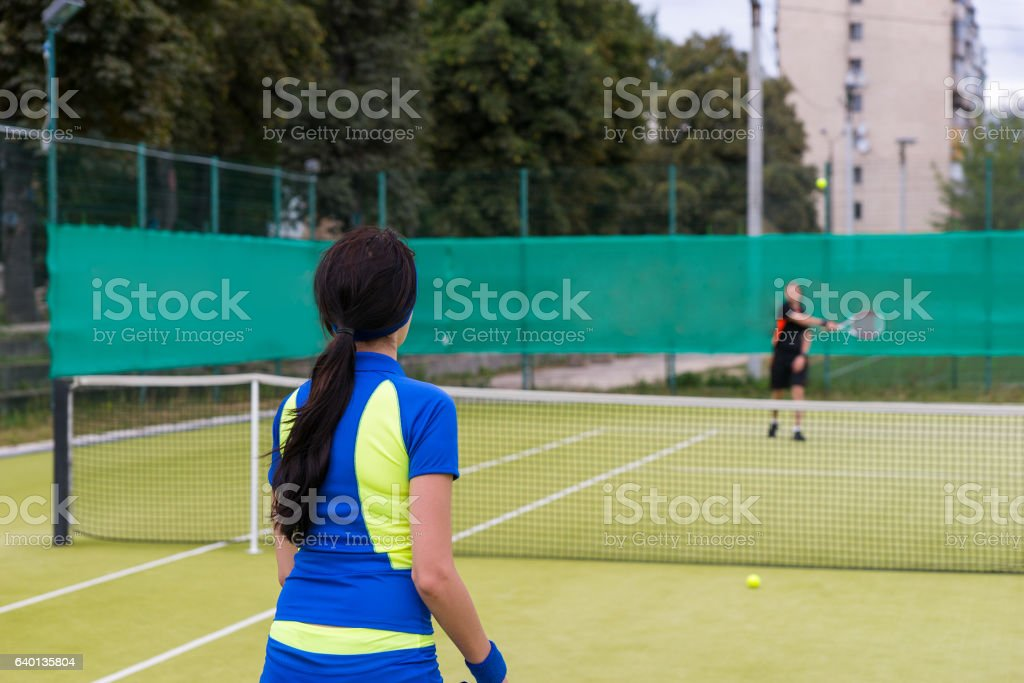 Two tennis players during the game stock photo