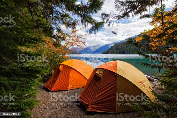 Photo of Two tents at Cheakamus Lake in autumn, BC, Canada