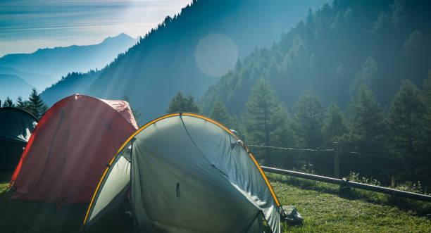 Two Tents in Col de la Forclaz on the Tour Du Mont Blanc stock photo