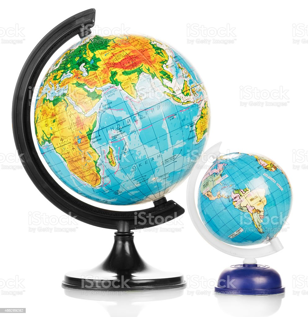 Two Terrestrial globes royalty-free stock photo