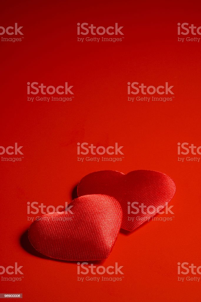 Two textile hearts royalty-free stock photo