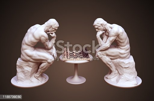 istock Two Thinkers Pondering The Chess Game On Brown Background 1155739230