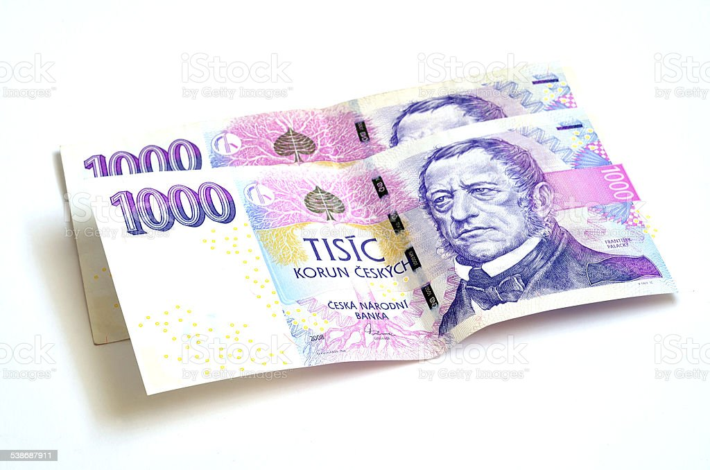 Two thousand Czech crowns banknotes stock photo