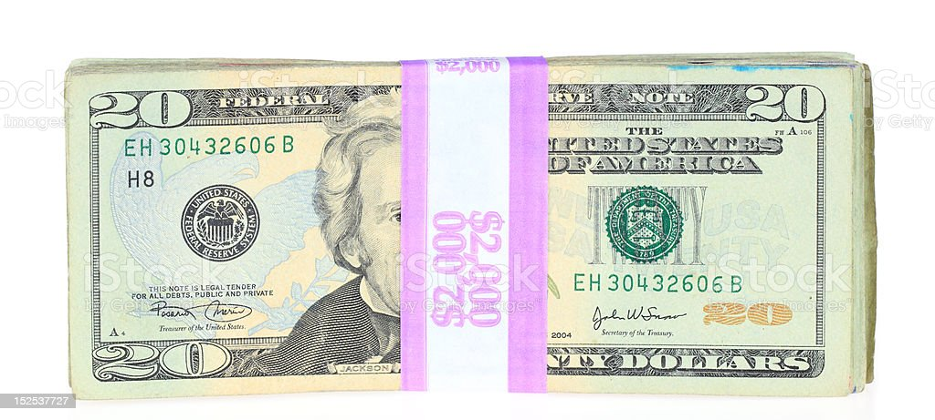 Two Thousand Dollars royalty-free stock photo