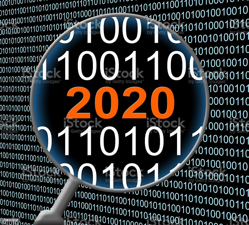 Two Thousand Twenty Data Computer 2020 New Year And Communicatio stock photo