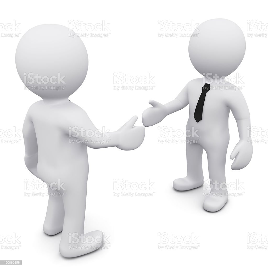 Two three dimensional bubble people shaking hands stock photo