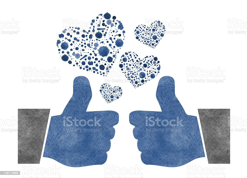 Two Thumbs Up with Watercolor Hearts royalty-free stock photo