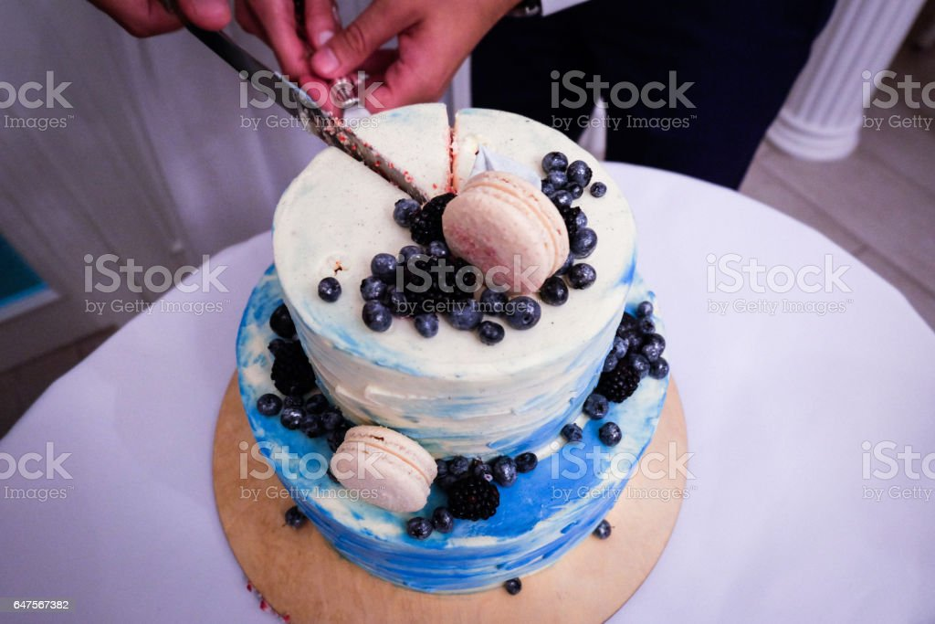 Two Tier Blue Cream Wedding Cake Decorated With Blueberries And ...