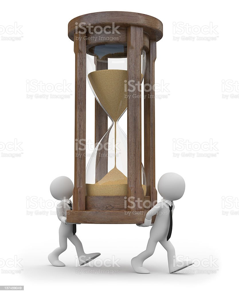 Two tiny men carrying a huge hourglass royalty-free stock photo
