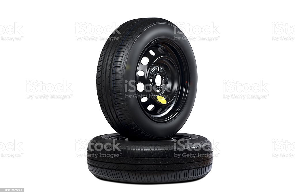 Two tires on the white royalty-free stock photo