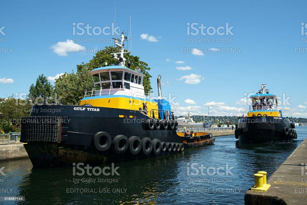 Two Titan Class tugboats stock photo