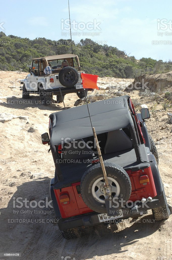 Two TJ Jeep Wranglers between Robe and Beachport, South Australia stock photo