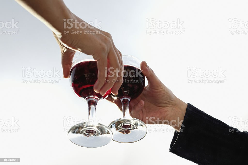 Two toasting glasses of red wine royalty-free stock photo