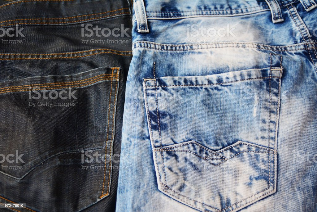 Two tones jeans with pockets stock photo