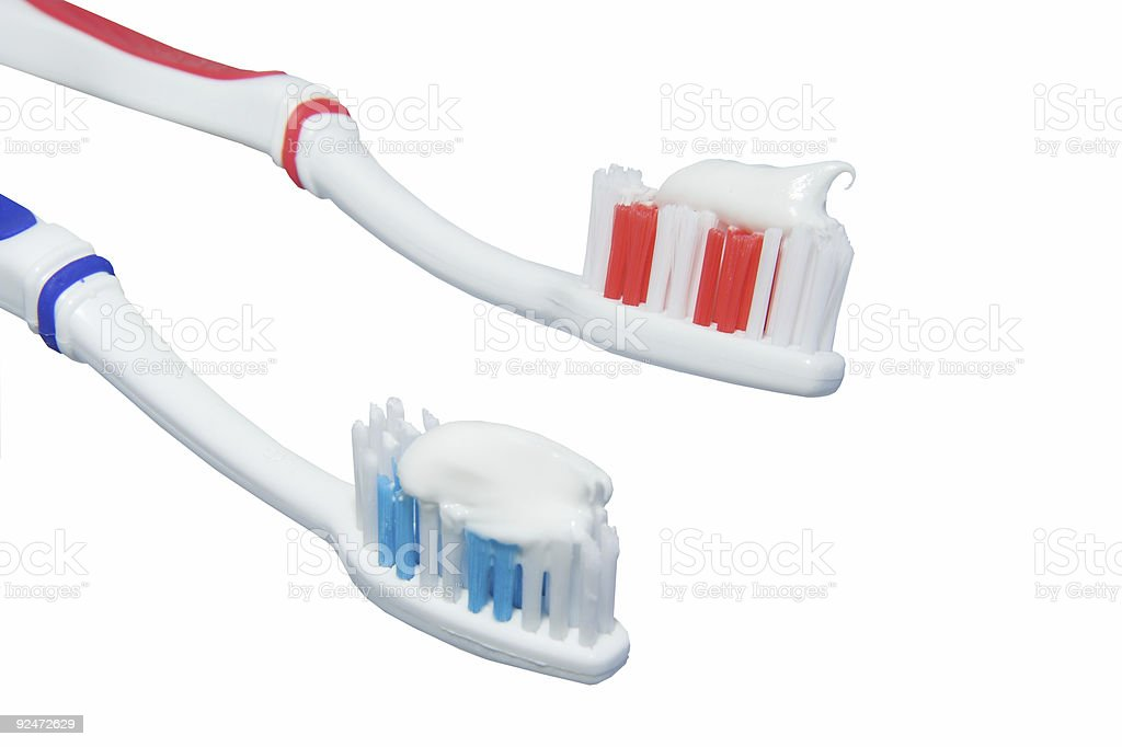 Two toothbrushes royalty-free stock photo