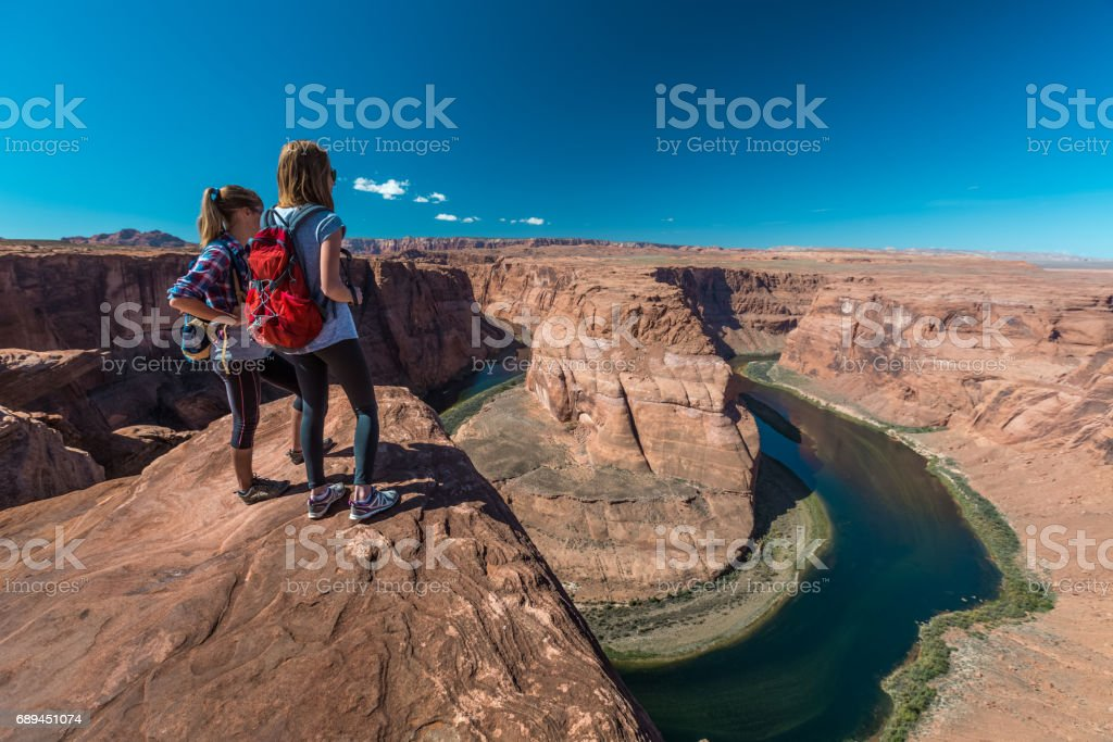 Two tourist enjoy Colorado river stock photo