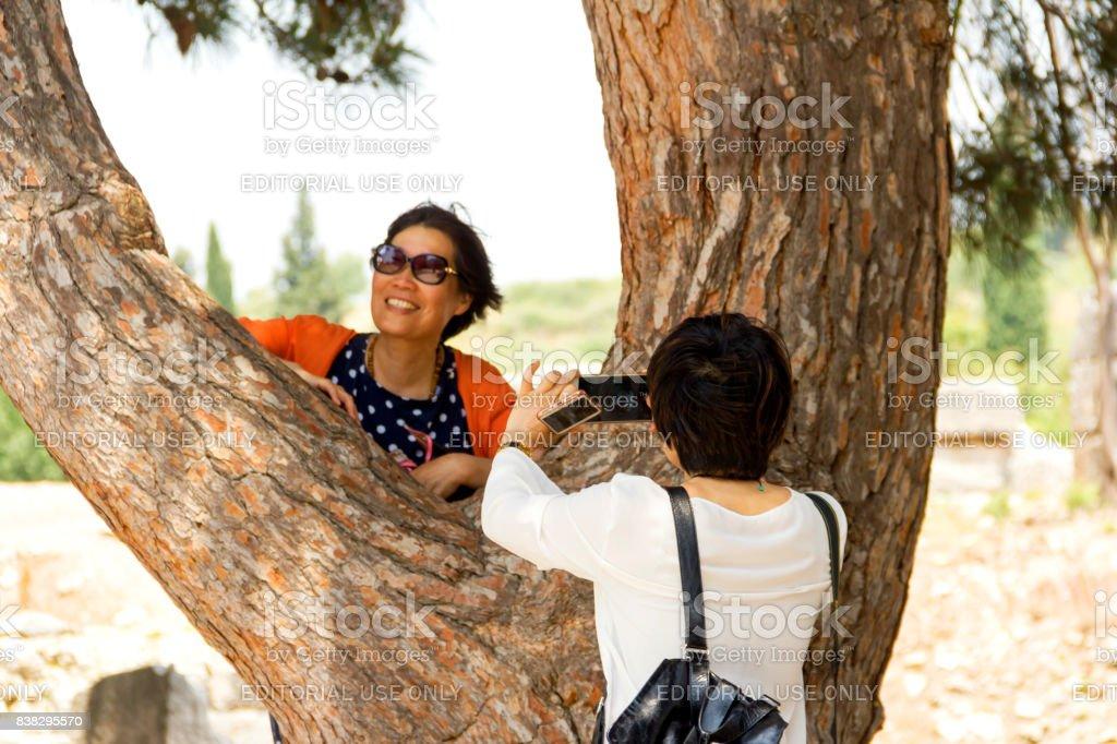Two Tourist Women Inside Of The Ephesus stock photo
