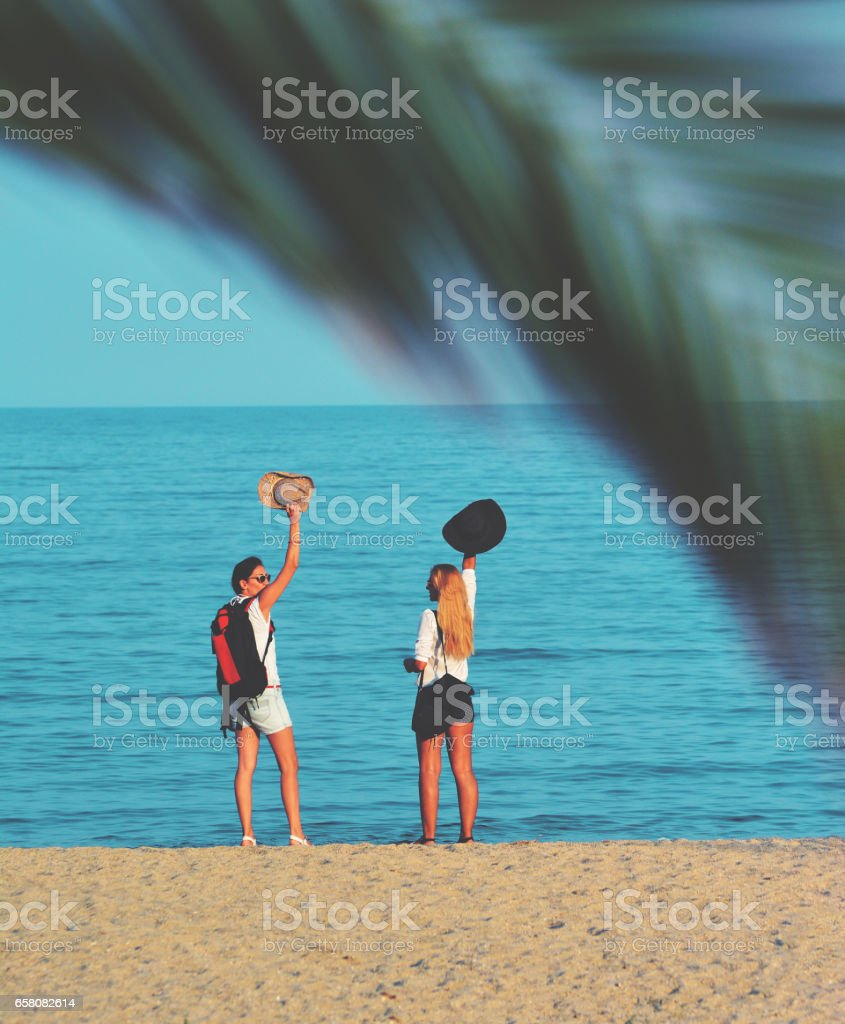 Two tourists enjoying the Palza and the found site royalty-free stock photo