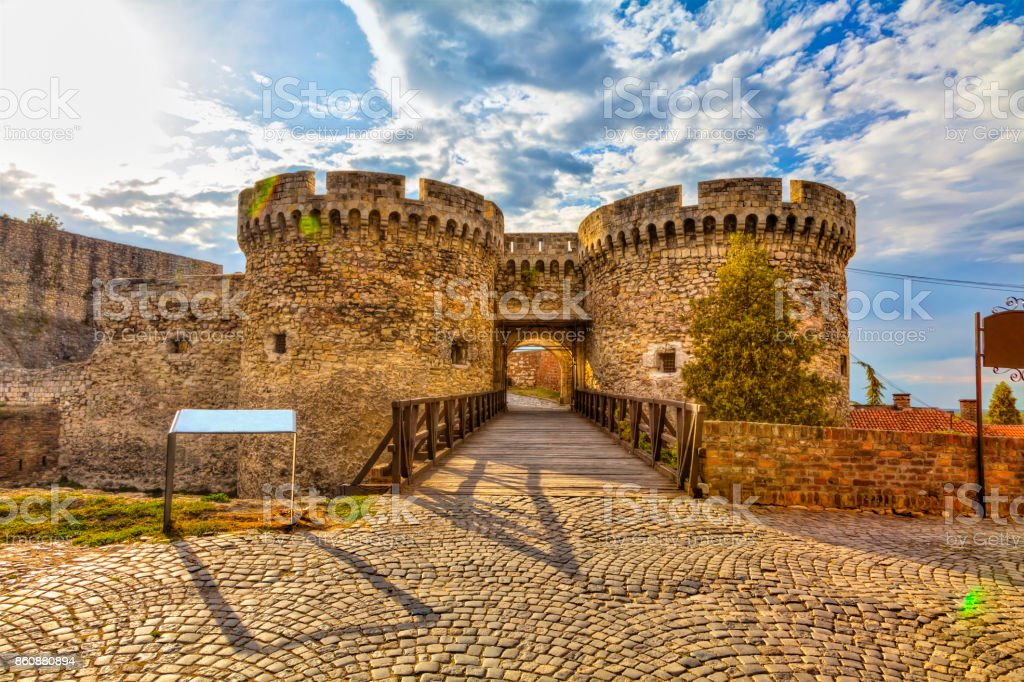 two towers and a bridge royalty-free stock photo