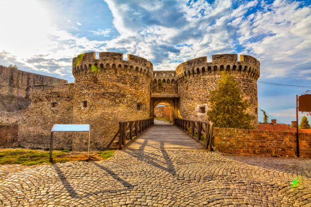two towers and a bridge Wooden bridge, two towers and Kalemegdan walls, HDR image. serbia stock pictures, royalty-free photos & images