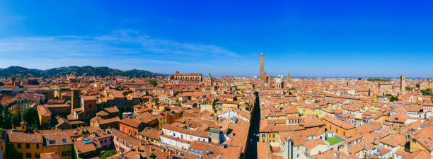 Two towers Bologna Italy aerial cityscape stock photo