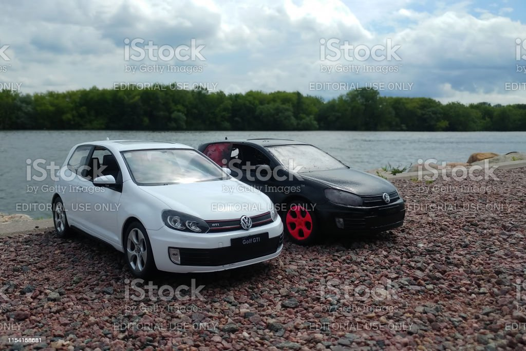 What Does Gti Stand For >> Two Toy Cars In River Park 2 Volkswagen Golf Mk6 Stand On A