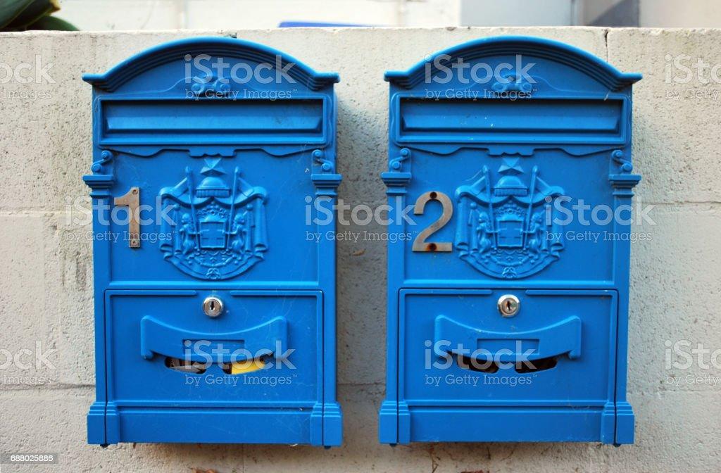 Two traditional Australian vintage retro postbox stock photo