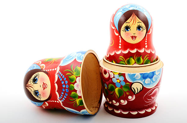 two traditional Russian matryoshka dolls stock photo