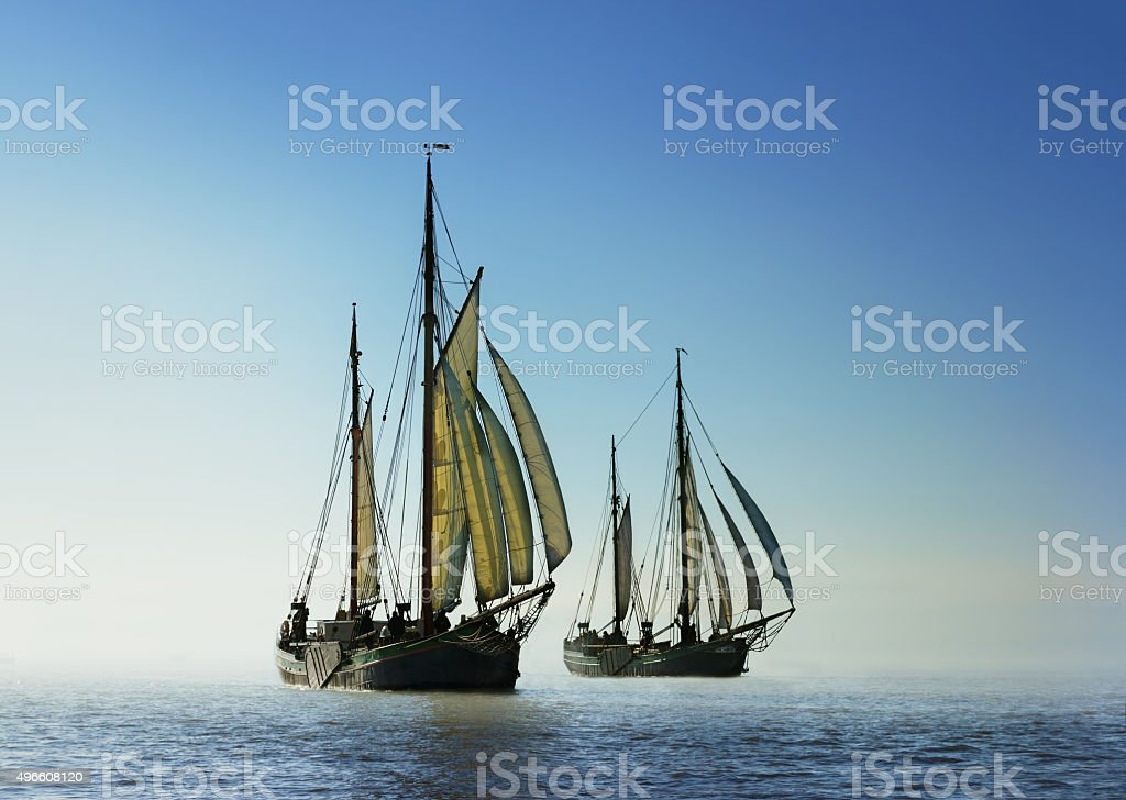 Two traditional sailing boats stock photo