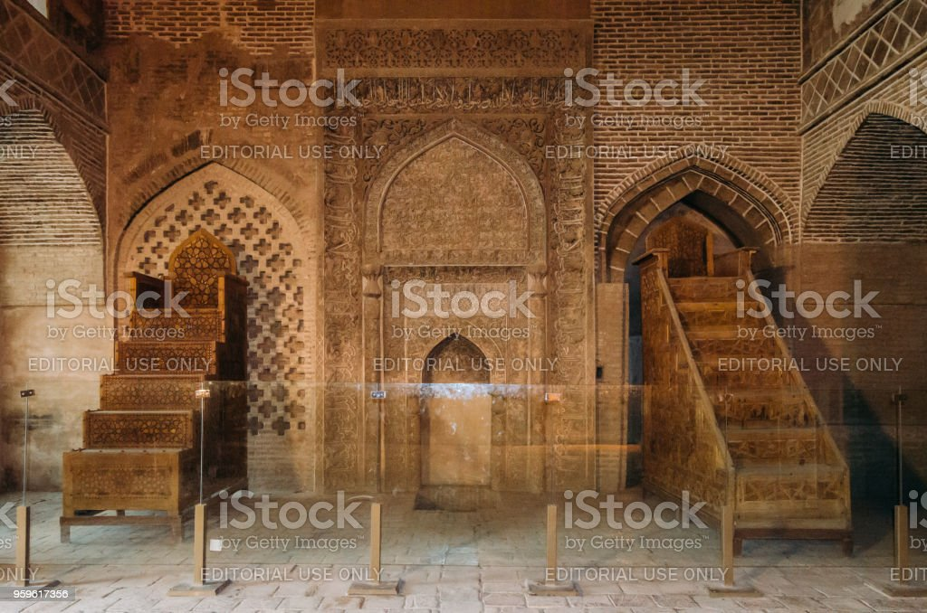 Two traditional wooden minbars in the historic Imam Mosque at Naghsh-e Jahan Square, Isfahan,Iran stock photo