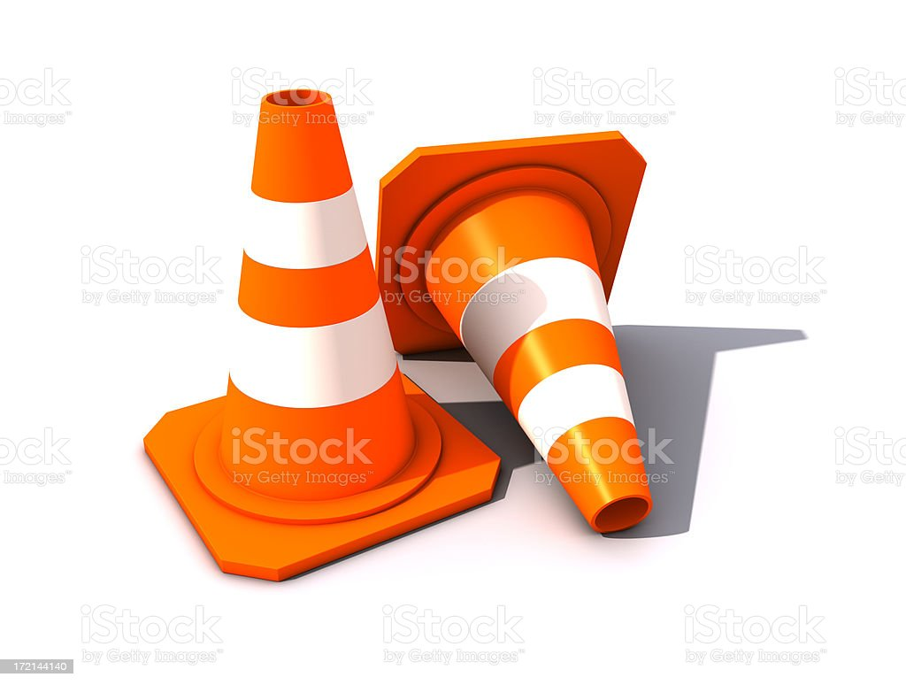 Two Traffic Cones royalty-free stock photo