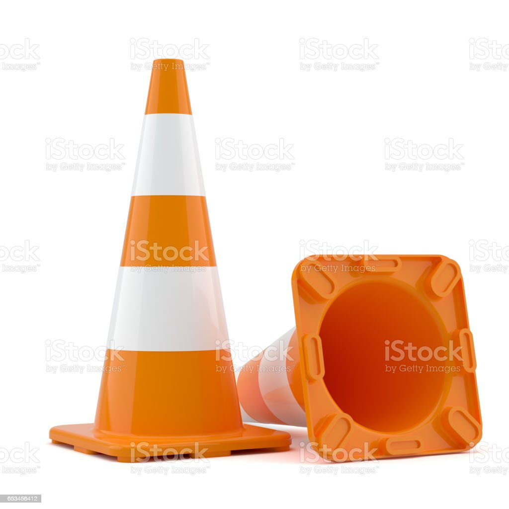 Two traffic cones stock photo