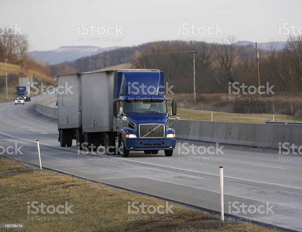 Two Trailer Semi Truck royalty-free stock photo