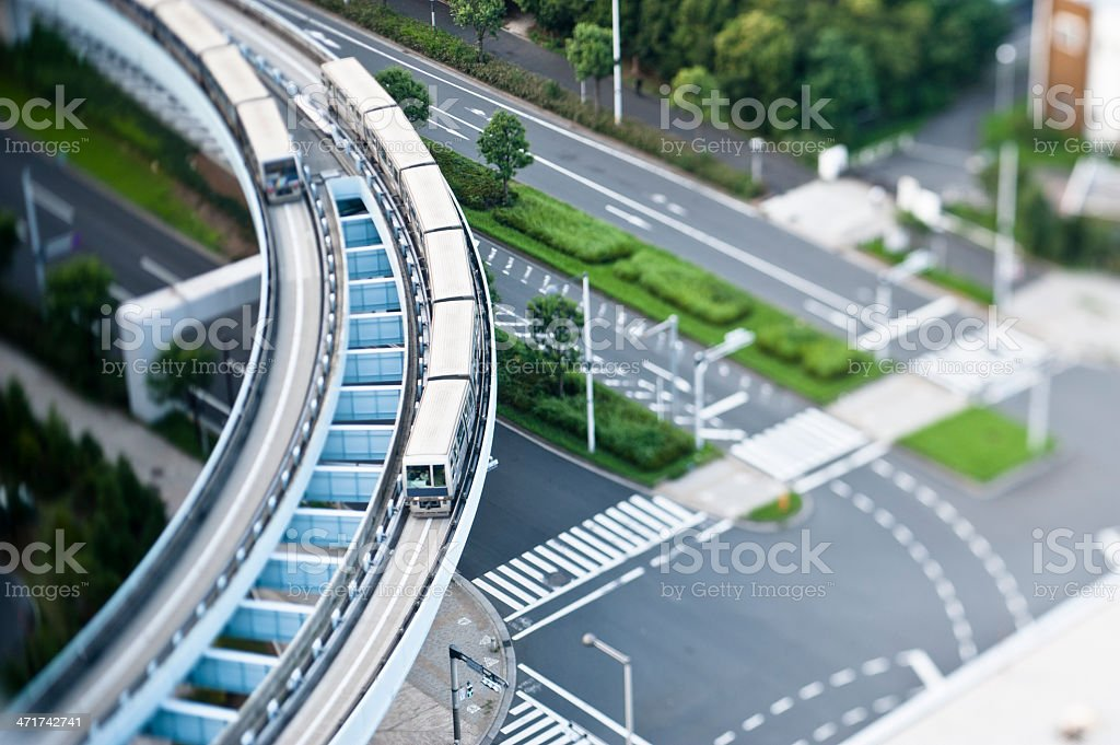 Two trains passing each other stock photo