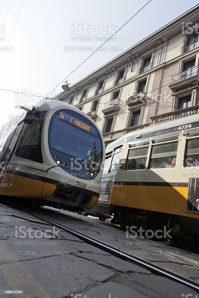 Two trams in Milan, Italy stock photo