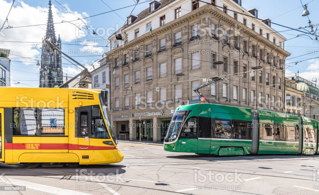 Two trams in the centre of Basel, Switzerland stock photo