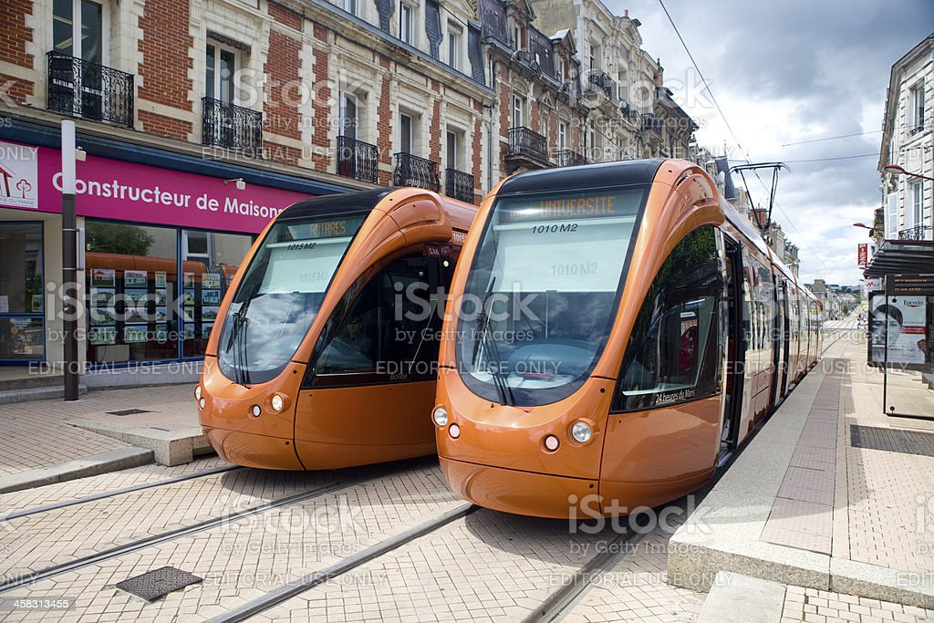 Two Trams stock photo