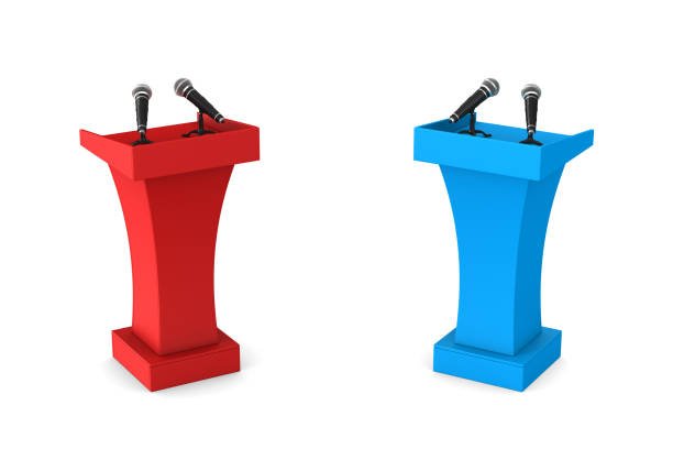 two tribunes with microphones on white background. Isolated 3D illustration two tribunes with microphones on white background. Isolated 3D illustration pulpit stock pictures, royalty-free photos & images