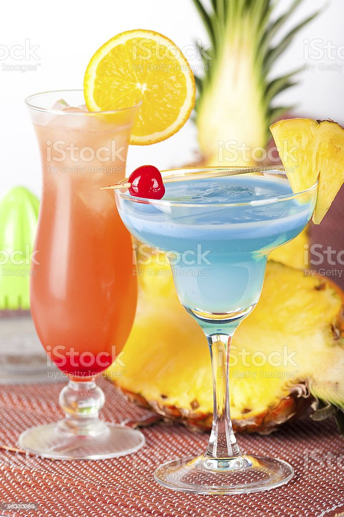 Two tropical cocktails royalty-free stock photo