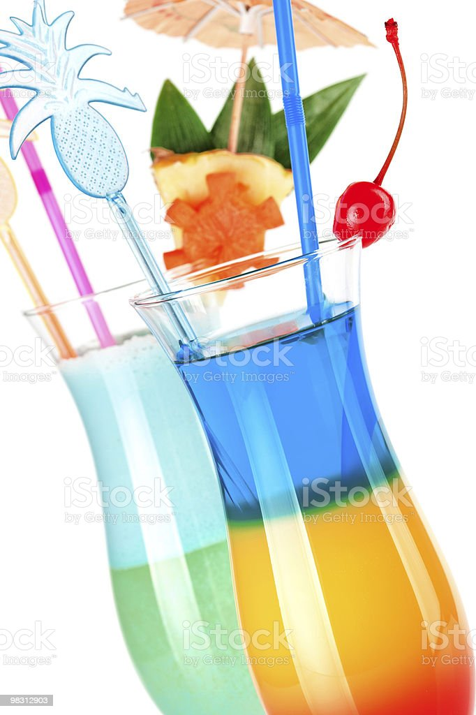 Two tropical cocktails with decoration royalty-free stock photo