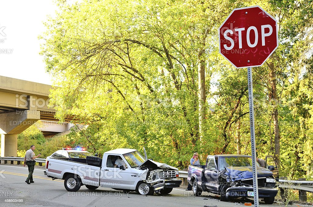 Two Truck Wreck Stock Photo - Download Image Now - iStock